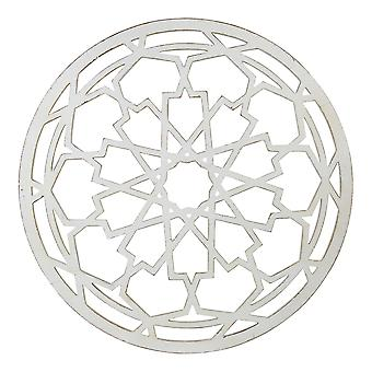 Round-Shaped Medallion Wall Decor in White Distressed Finish