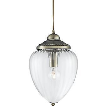 Søgelys Ananas - 1 Light Vedhæng Antik Messing Ribbet Glas Skygge, E27