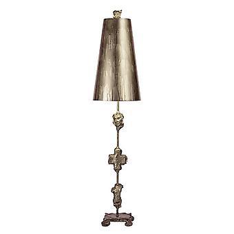 1 lampe de table légère vieillie argent, E27