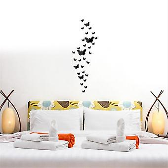 3 Couleurs Butterfly Frame Wall Clock Mirror Surface Wall Stickers- Chambre à coucher, 3d