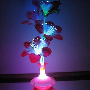 1kpl kukka maljakko muoto optinen kuitu led-lamppu