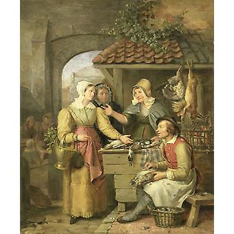 The Poultry Stall Poster Print
