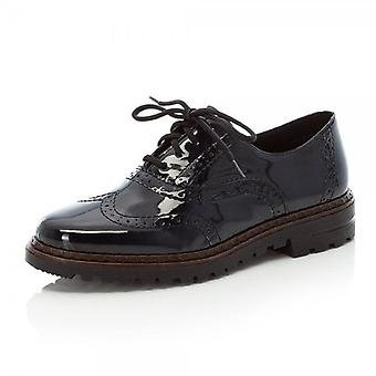 Rieker 54812-45 Ulla Patent Lace Up Brogue In Navy Patent