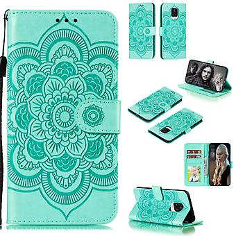 For Xiaomi Redmi Note 9 Pro Max Mandala Embossing Pattern Horizontal Flip PU Leather Case with Holder & Card Slots & Walle & Lanyard(Green)
