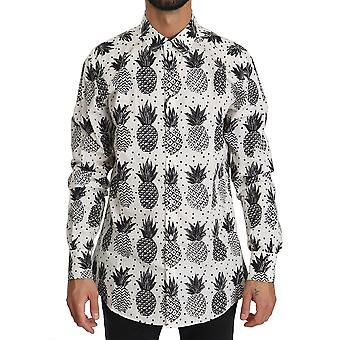 Dolce & Gabbana Valkoinen Ananas Puuvilla Top Shirt