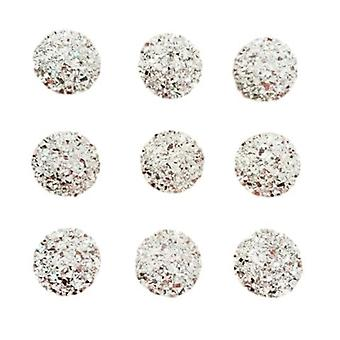 40 Round Silver Gems 12mm Flat Back Quality Resin Embellishments