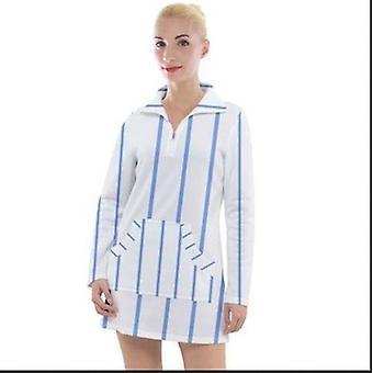 Blue Stripes Women's Long Sleeve Casual Dress