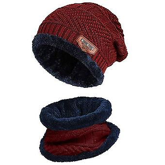 Men Warm Beanie Winter Thicken Hat And Scarf, Two-piece Knit Windproof Cap