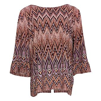 Bob Mackie Women's Top Peacock Feather Print Ruffle Sleeves Pink A303300