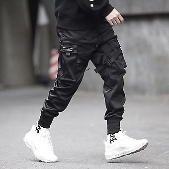 Hip Pop Cargo Kalhoty, Muži Černá Kapsa Harem Sweatpant, Casual Fashion Muži