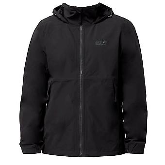Jack Wolfskin Andean Pass Mens Jacket Hooded Windbreaker Black 1109201 6350