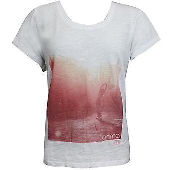 נשים בעלי חיים איימי גרפיקה טי קיץ חולצת טריקו לבן CL5SG32 001