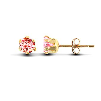 Jewelco London Ladies 9ct Yellow Gold Pink Round Brilliant Cubic Cyrkonia Solitaire Claw Set Stud Kolczyki, 3mm