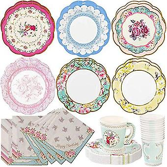 Truly Scrumptious Vintage Style Happy Birthday Tea Party Pack for 12