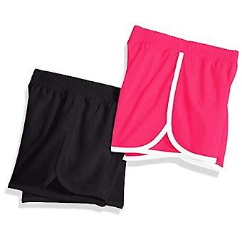 Essentials Big Girls' 2-Pack Active Running Short, Black/Raspberry, L