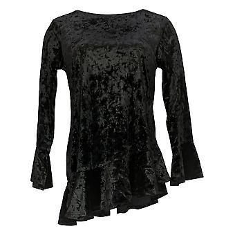 Linea Por Louis Dell'Olio Women's Top Velvet W/ Ruffle Detail Black A343615