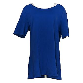 Isaac Mizrahi Live! Frauen's Top Essentials Baumwolle Swing Tunika blau A354986