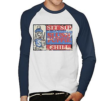Slush Puppie Retro 70's Sit Sip Chill Poster Men's Baseball Long Sleeved T-Shirt