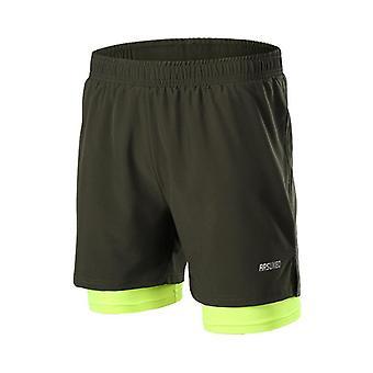 2 v 1 muži běžecké šortky, rychlé suché jogging tělocvičny fitness sportovní šortky s