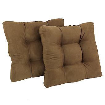 Cojín de silla de comedor con microsueda cuadrada de 19 pulgadas (juego de dos) - marrón silla de montar