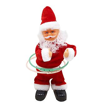 Turn Hula Hoop Electric Plush Toy Xmas Toy With Music Decoration 30cm