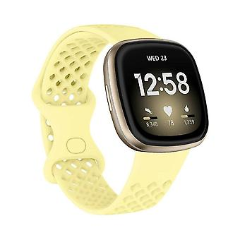 voor Fitbit Versa 3 / Sense Replacement Band Strap Silicone Bracelet Wristband[Small,Yellow]