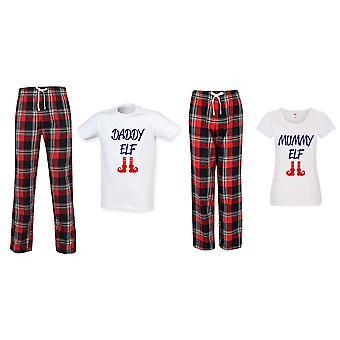 Daddy Elf Mummy Elf Jul Tartan Bukser Pyjama Par Set