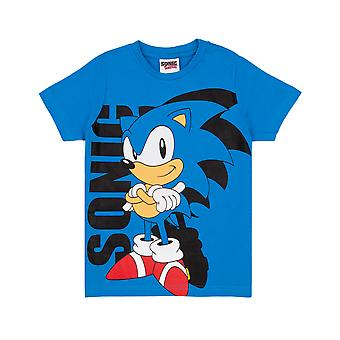 Sonic The Hedgehog T Shirt For Boys | Kids Blue Supersonic Character Top | Game Gifts Clothing Merchandise