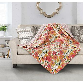 Spura Home Floral Coral Crush Transitional Quilted Throw
