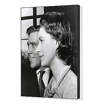 Princess Margaret and Anthony Armstrong Jones. Box Canvas Print. Princess Margaret and her fiance,.