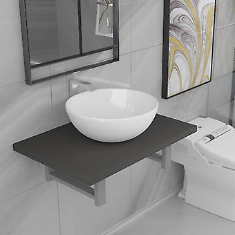 vidaXL 2-pcs. Bathroom furniture set ceramic grey