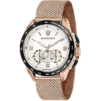 Maserati R8873612011 Men's Traguardo Chronograph Rose Gold Tone Mesh Wristwatch