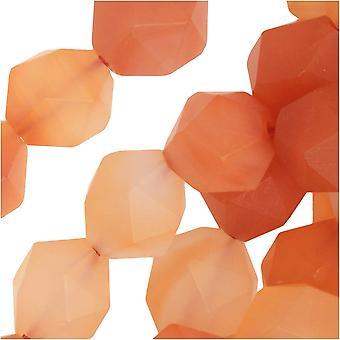 Dakota Stones Gemstone Beads, Orange Agate, Matte Star Cut Faceted Round 10mm, 15 Inch Strand