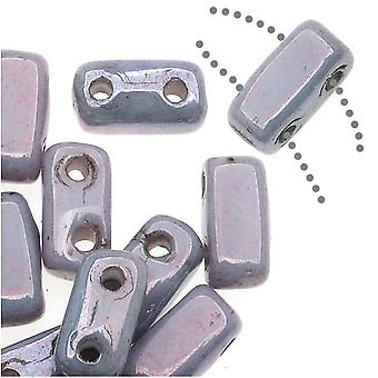 CzechMates Glass 2-Hole Rectangle Brick Beads 6x3mm - Opaque Amethyst Luster, 1 Strand
