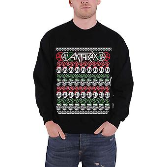 Anthrax Skulls Christmas new Official Mens Black Sweatshirt