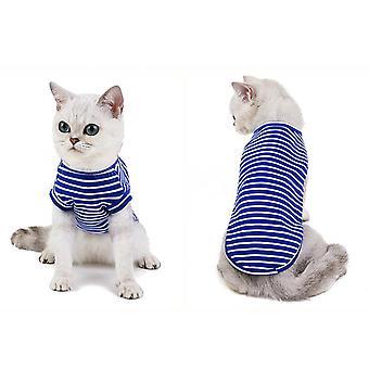 Kat tøj stribet t-shirt kæledyr sommer tøj