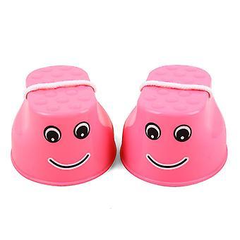 Equipamento de treinamento de equilíbrio plástico ao ar livre Sorriso Pulando Palafitas Jogo de Salto Pés Palafitas para brinquedos infantis presentes