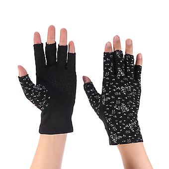 1 Pair Of Outdoor Sunblock Half Finger Floral Printing Gloves Mitten Uv Protection Gloves For Climbing Riding (black)