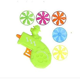 2Pcs 10*10cm green children's toy flying colorful gun pet toy flying saucer gun with 5pcs frisbee az12806