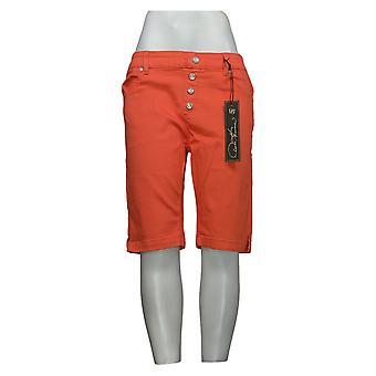DG2 by Diane Gilman Women's Petite Shorts Faux Fly Bermuda Orange 742917