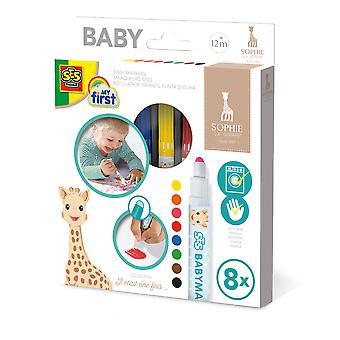 SES Creative - Children's My First Sophie La Giraffe Baby Markers Set 8 Colours (Multi-colour)