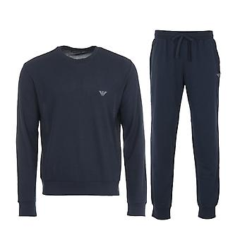Emporio Armani Loungewear Waffle Knit Pyjama Set - Navy