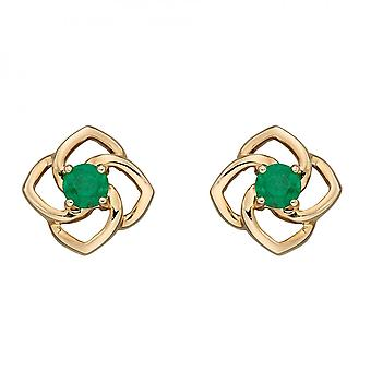 Elements Gold Cut Out Flower Emerald Yellow Gold Stud Earrings GE2387G