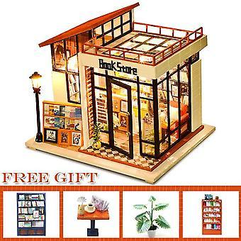 Cutebee diy poppenhuis houten poppenhuizen miniatuur poppenhuis kit meubels casa muziek geleid speelgoed voor kinderen verjaardagscadeau a68c