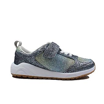 Clarks Aeon Sparkle Kids Pewter Leather/Glitter Childrens Casual Trainers
