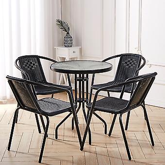 Bistro Patio Table et 4 Chaises Salle à manger Ensemble de meubles - Noir