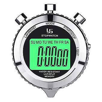 שעון עצר דיגיטלי שעון עצר ממתכת עם תאורה אחורית, 2 שעון עצר של שעון עצר (כסף)