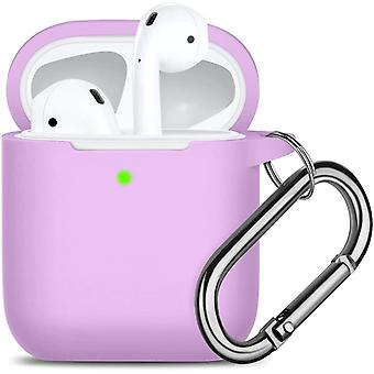 Waterproof Protective Cover with Keychain Compatible with Apple Airpods 2 & 1,  Lavender(04