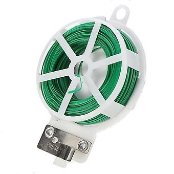 3 Pack 30m Roll Twist Tie Gardening Climbers Plant Green Coated Wire Dispenser With Cutter