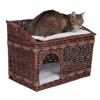 (Marrom) Cama wicker cat den